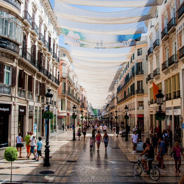 Calle Marqués de Larios under cover of tents. Málaga, Andalusia, Spain, Southeastern Europe.